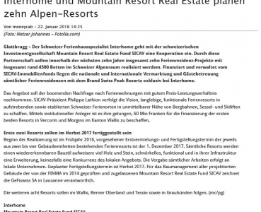 Moneycab – Interhome und Mountain Resort Real Estate planen zehn Alpen-Resorts